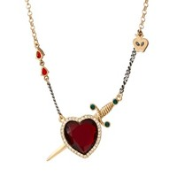 Disney Couture Snow White Crystal heart & Dagger Pendant Necklace