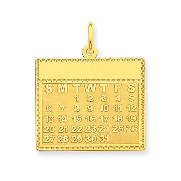 14k Yellow Gold Tuesday Start Perpetual Calendar Charm Pendant, 22mm