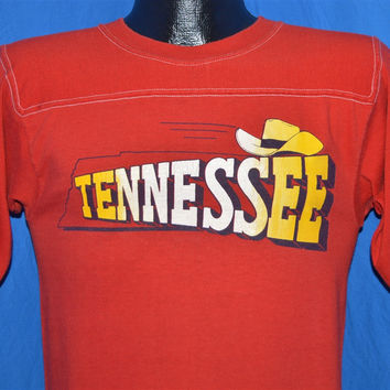 80s Tennessee Cowboy Hat Red Jersey Top Ringer t-shirt Small