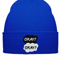 okay okay Bucket Hat,embroidery,hat - Beanie Cuffed Knit Cap