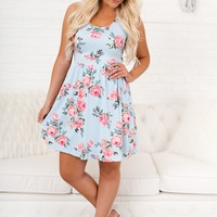 In Full Bloom Floral Dress (Blue)
