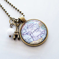 Map of France - Map Pendant Necklace - Custom Jewelry - Travel Necklace - Europe - Paris - French - Eiffel Tower - Personalized Map Jewelry