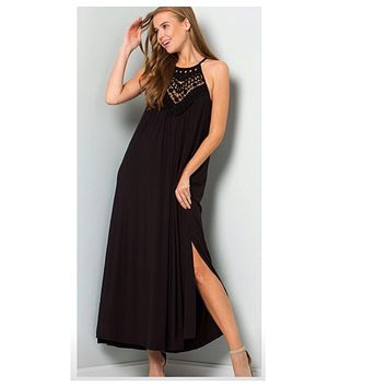Elegant Crochet Lace Halter Black Dress