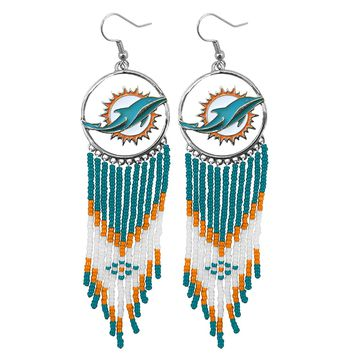 Miami Dolphins Game Day Dreamcatcher Earrings