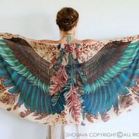 SILK Exotic colors Wings scarf and feathers, Hand painted, printed, stunning unique and useful, perfect gift