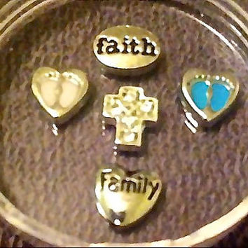 WHOLESALE 5 Pack of Faith Family Cross Baby Feet Floating Charms for Memory Lockets