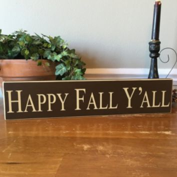 Happy Fall Y'all Wooden Block Sign