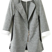 Color Block 3/4 Sleeve Zipper Blazer