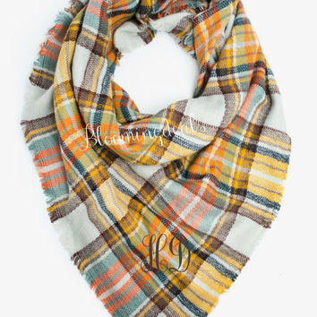 Oversized Blanket Scarf, Yellow / Aqua / Orange Plaid Tartan, Monogrammed Scarf Personalized Christmas Gift Under 30 Dollars