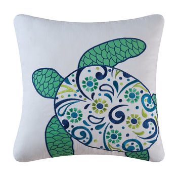 Meridian Sea Turtle Embroidered Pillow