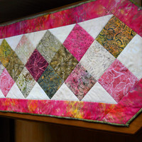 Patchwork Tablerunner, Handmade Batik Table Topper, Beautiful for Spring.