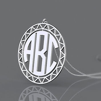 Sunflower monogram necklace 1.5 inch circle style nameplate necklace jewelry for present
