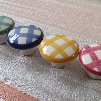 Gingham Knobs Checkered Checked Dresser Knob Drawer Pull Handle Kitchen Cabinet Knobs Pulls Handles Rustic Furniture Door Hardware Colorful