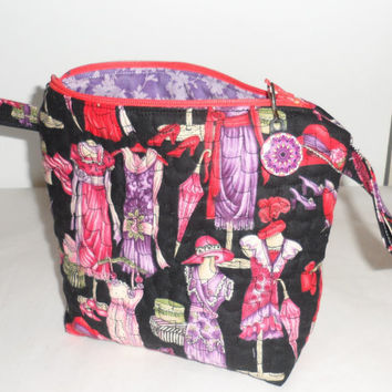 Quilted Fabric Zippered Cosmetic Bag/Handmade Red Hatter Fabric Cosmetic Bag/2 Hold Cosmetics/Pretty Red Hat Fabric/Coordinated Interior