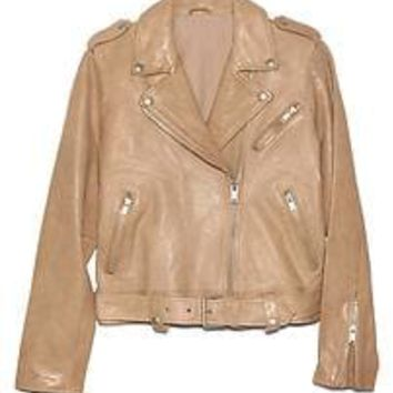 Leather belted moto jacket | Gap