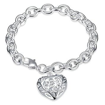 HongBoom Jewelry Womens 925 Sterling Silver Plate Cute Hollow Heart Chains Bracelet Bangle H269