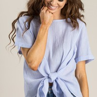 Celia Blue Stripe Tie Front Top