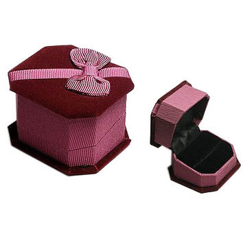 Wooden Jewelry Box for Rings or Earring Gifts Red Velvet Texture