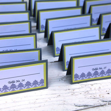 Handmade Place Cards, Gray and Yellow, Lace, Vintage, Wedding, Special Event, Reception, Tented