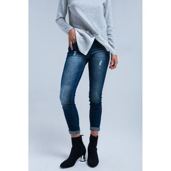 Jeans skinny dark blue washed out
