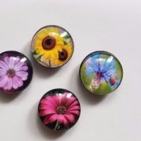 Set of 4 Glass Flower Refrigerator Magnets Spring Summer Kitchen Home Decor
