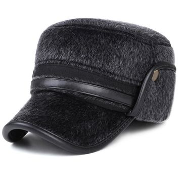 Trendy Winter Jacket HT1877 Warm Elder Man Caps Faux Fur Hats for Winter Baseball Caps Thick Casual Dad Hats with Earflap Solid Baseball Hats for Men AT_92_12