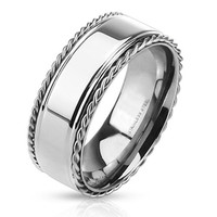 The Baron – FINAL SALE Stainless steel ring with polished center band and twisted rope edges