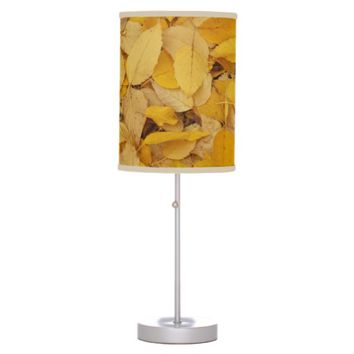 Golden Leaves Photo Table Lamp