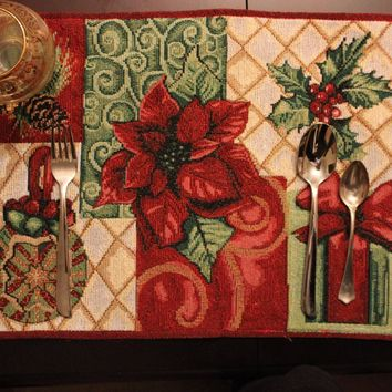 Tache 4 Pieces Holiday Christmas Tidings Tapestry Placemats