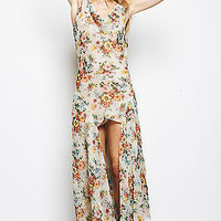 NWT UNIF SOLD OUT HIGH LOW FLORAL ASYMMETRIC NAOMI CHIFFON DIP HEM MAXI DRESS