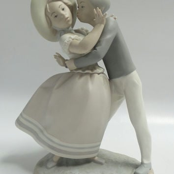 "Retired Lladro ""Precious Love"" Boy Kissing Girl Matte Porcelain Figurine #14856"
