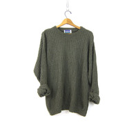 90s Drab Green Cotton Sweater Basic Pullover Top Baggy Knit Oversized Sweater Preppy Jumper Long Sweater Top XL Large