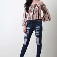 Stretchy Distressed Drawstring Skinny Jeans