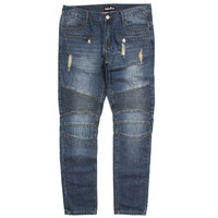 Elise Biker Denim Jeans Raw Blue