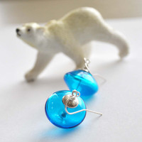 Aqua Blue Glass Earrings