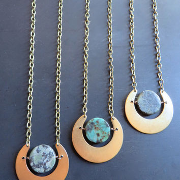 Eclipse Planet Crescent Moon Necklace Earth Pendant African Turquoise Chain Azeeta Designs Azeetadesigns