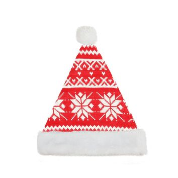 "14"" Alpine Chic Red and White Knitted Snowflake White Brim Christmas Santa Hat - Medium Adult Size"