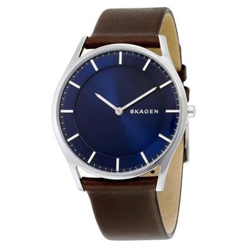 Skagen Holst Blue Dial Brown Leather Mens Watch SKW6237