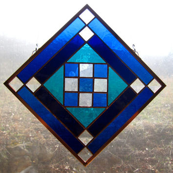 Handmade Stained Glass Quilt Square w Blenko Glass and Bevels Amish Patch Quilt Design Appalachian Traditional Pattern