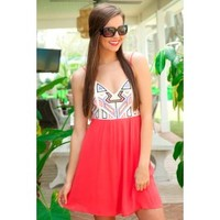 It's Sunny Somewhere Dress-Coral