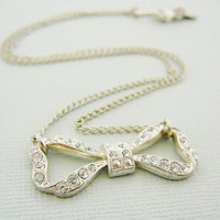 Rhinestone Bow Necklace, Pendant Charm Vintage Clear Silvertone Chain infinity Bridal Party Wedding