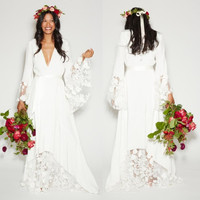 2017 New Beach Wedding Dresses Long Bohemian BOHO Hippie Style Bridal Gowns with Long Sleeves Lace Bridal Gowns Plus Size