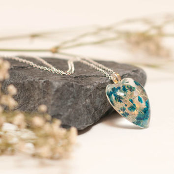 Eco Chic Blue Babies Breath Flowers Encapsulated in a Heart Shaped Pendant, Botanical Specimen Pendant, a perfect Christmas Gift