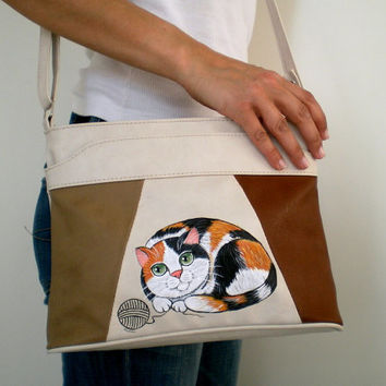 Cat  Shoulder Bag,  Faux Leather Messenger bag,  Hand Painted calico cat , gift for cat lovers
