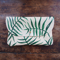 Wild Fern Clutch - Hand Painted Leather