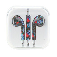 MiCase Skull Butterfly Floral Print Earbuds
