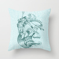 Poseidon Throw Pillow by Laurie A. Conley | Society6