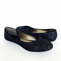 Black Glitter Flats, Slip On Ballet Shoes