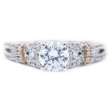 6.0mm Round Moissanite 14K White and Rose Gold Engagement Ring And Wedding Band Set