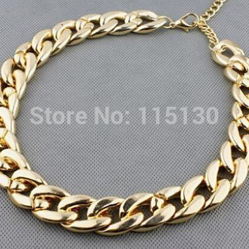 Vintage Silver/Gold/ Rose gold Chunky Chain Necklace For Women  Long Chian CCB Plastic Collar Necklace New Fashion Jewelry